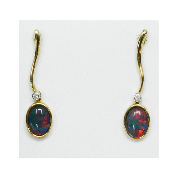 9ct Yellow Gold Triplet Opal Drop Earrings