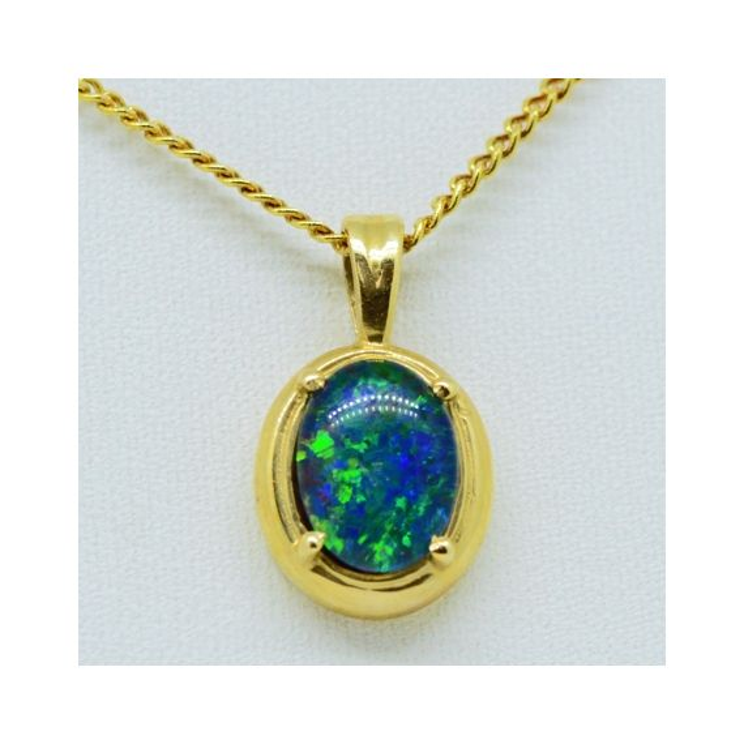 14ct Yellow Gold Triplet Opal Pendant
