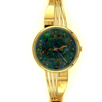 Pierre Cardin ladies opal face watch with gold band