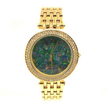 Pierre Cardin ladies opal face watch with gold link band