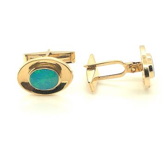 14ct doublet opal cufflinks