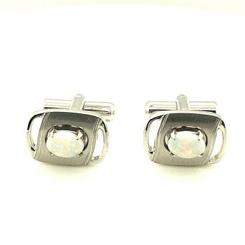 Silver Plated Solid Opal cufflinks