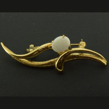 Solid Opal Brooch Set In Gold Plated Sterling Silver