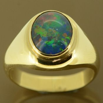 Men's triplet opal ring set in 9ct gold
