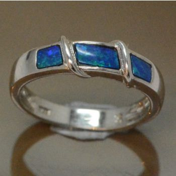 Ladies Sterling Silver Doublet Inlaid Opal Ring