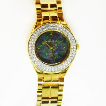 Pierre Cardin Ladies Gold Plated Opal Face Watches with Crystals