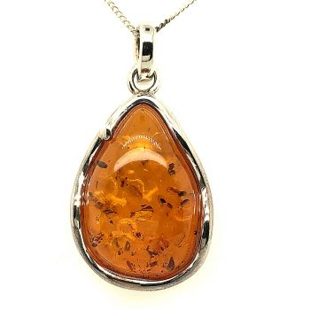 Sterling Silver Amber Pendant  (46mmx24mm)