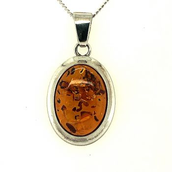 Sterling Silver Amber Pendant (18x13)