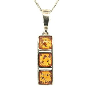 Sterling Silver Amber Pendant  (36mmx6mm)