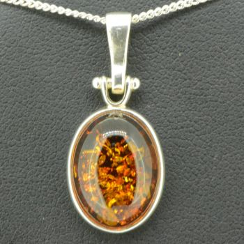 Sterling Silver Amber Pendant (16x12)