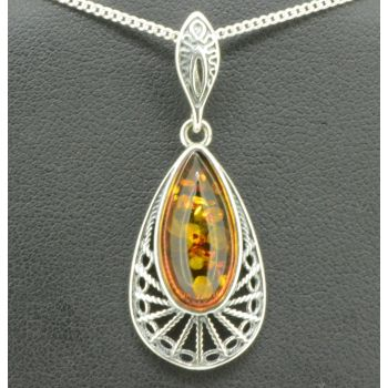 Sterling Silver Teardrop Shaped Amber Pendant (17x8)
