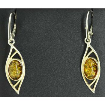 Sterling silver amber earrings with french clips
