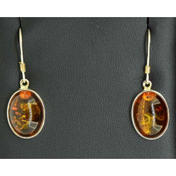 Sterling silver amber earrings with shepards hooks