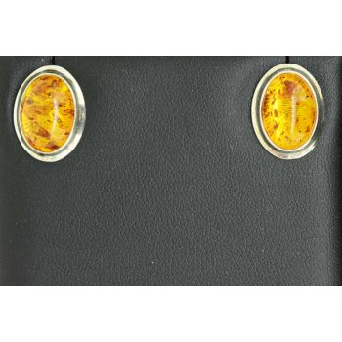 Sterling silver stud amber earrings