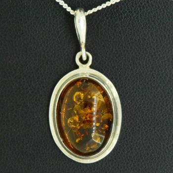 Sterling silver oval shaped amber pendant
