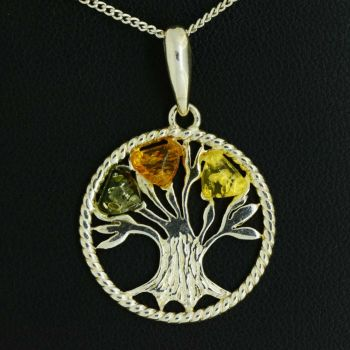 Sterling silver amber tree of life