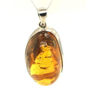 Amber pendant set with insect in sterling silver