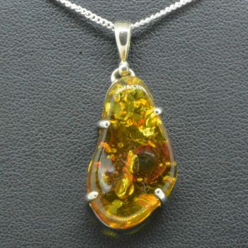 Baltic Amber pendant set in sterling silver