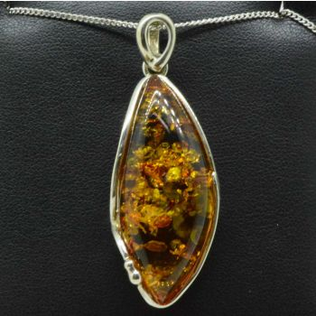 Sterling silver marquee shaped amber pendant
