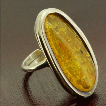 ladies sterling silver amber ring