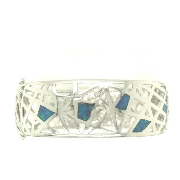 Sterling Silver bangle set with 5 opals