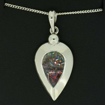 Tear drop Queensland boulder opal sterling silver pendant