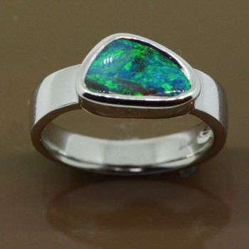 Sterling silver Queensland Boulder opal ring