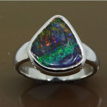 Queensland Boulder opal set in a sterling silver ring