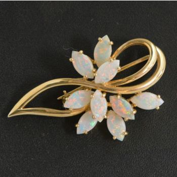 10ct Gold Solid Opal Brooch with 9 Marquee Shaped Opals