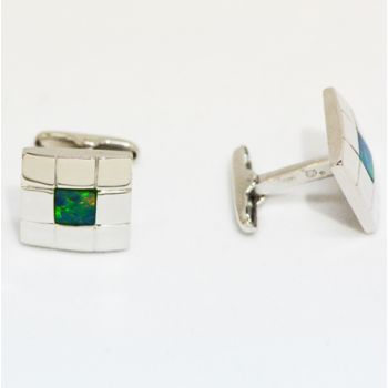 sterling silver inlaid opal cufflinks