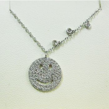 14ct white gold SMILEY FACE diamond necklace