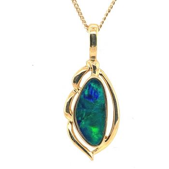 14ct Yellow Gold Doublet Opal Pendant (16x7)