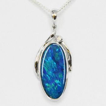 14ct White Gold Doublet Opal Pendant Set With One Diamond
