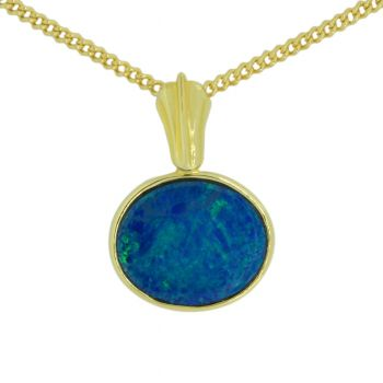 Doublet opal pendant set in 14ct yellow gold