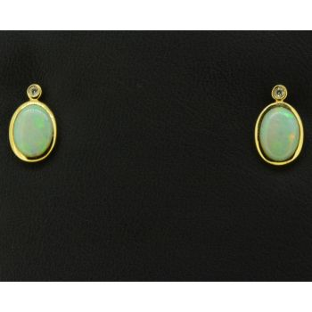 18ct Yellow Gold Solid Opal Earrings with  Diamonds