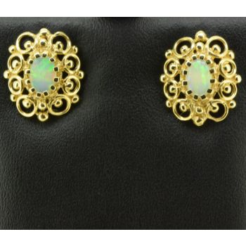 14ct Yellow Gold Solid Opal Earrings (5x4)