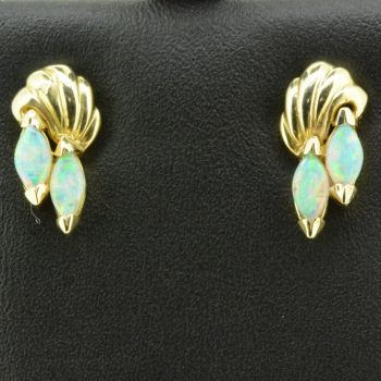 14ct Yellow Gold Solid Twin Opal Earrings