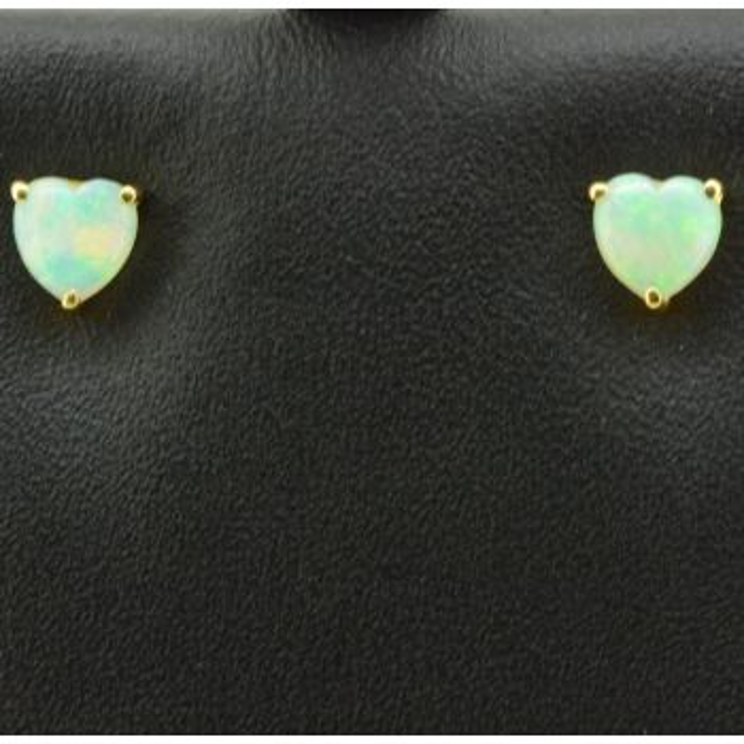 18ct Yellow Gold Heart Shaped Earrings Solid Opal Earrings