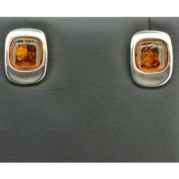 Sterling Silver Square Shaped Amber Earrings