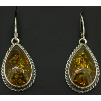 Sterling Silver Amber Earrings (25x14)