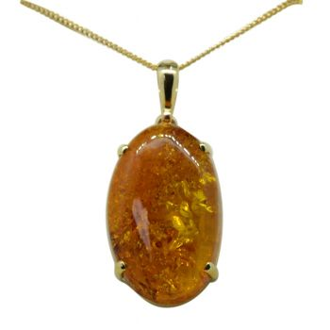 9ct Yellow Gold Amber Pendant