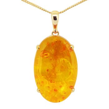 9ct Gold Amber Pendant