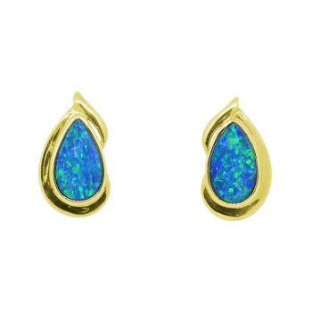 14K Yellow Gold Doublet Opal Drop Earrings
