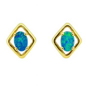 14ct Yellow Gold Rhombus Shaped Triplet Opal Earrings