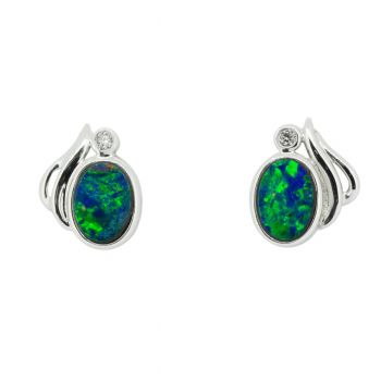 14ct White Gold Doublet Opal Earrings with Brilliant Cut Diamonds