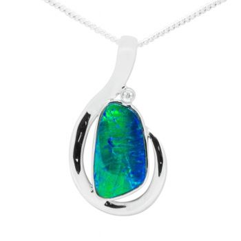 14K White Gold Green Flash Doublet Pendant
