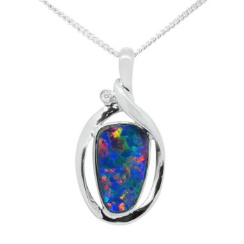 14K White-Gold Doublet Opal Pendant with Diamond