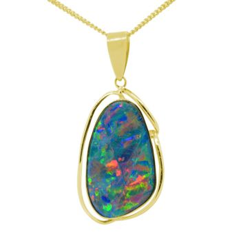 14K Yellow Gold Harlequin Doublet Opal Pendant