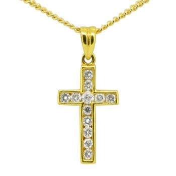18ct Yellow Gold Diamond Encrusted Cross