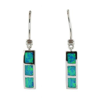 HANGING 14ct WHITE GOLD INLAID OPAL EARRINGS